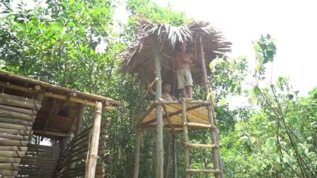野外求生, 生存哥终于建成了高空树屋, 原始技术运用的太牛逼了