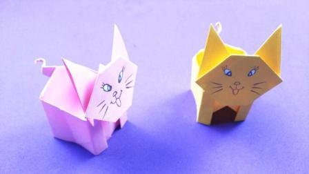 可爱的小猫咪收纳盒折纸, 简单易学又实用, 小朋友最喜欢了!