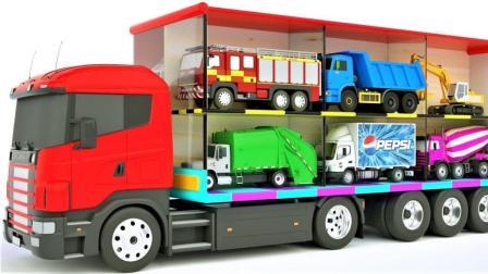 彩色车库出现各种彩色汽车卡车货车