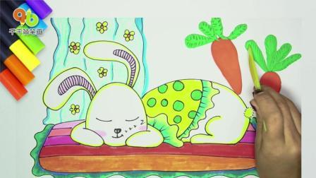 一只做着美梦睡觉的兔子简笔画, 萌意十足, 看, 它梦到什么了?