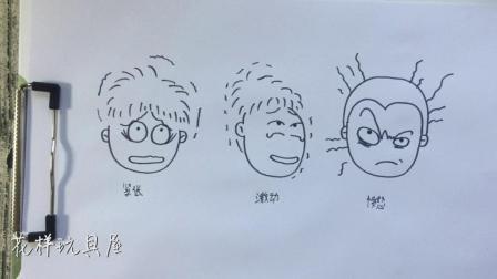 儿童卡通简笔画 男孩的表情
