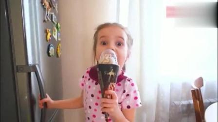 国外小萝莉吃巧克力冰淇淋, 关键是萝莉哦, 好看又好吃