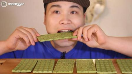 韩国大胃王胖哥, 吃抹茶巧克力, 吃的太馋人了