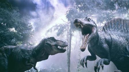 双龙之战!霸王龙竟被凶猛棘龙扭断脖子!速看科幻电影《侏罗纪公园3》
