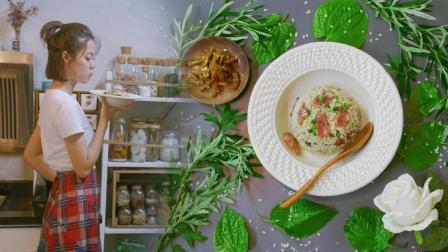 一碗绿色的饭, 独特的清香散发着端午气息, 用野外的艾叶与蛤蒌