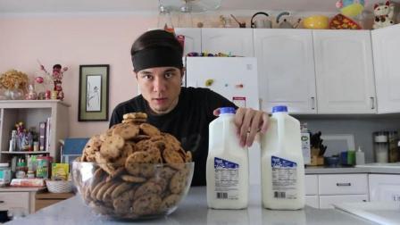 国外大胃王, 狂吃一盆饼干加两桶牛奶, 厉害了