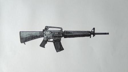 学画枪械M16窦老师教画画