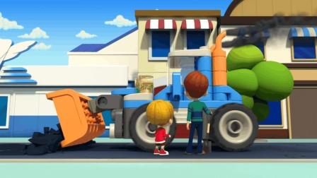 百变布鲁可动画视频: 推土机轻轻松松搞定沥青障碍  道路恢复通畅