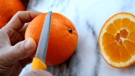 橙子不要切块吃了! 教你一个新切法, 简单几刀, 变成一盘艺术品