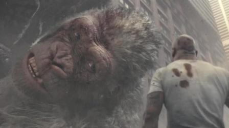 巨石强森榴弹枪狂炸巨鳄, 不料皮坚肉厚, 连大猩猩都不是它对手