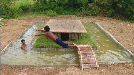 2个小伙徒手修建游泳池, 整个过程不用任何工具, 生存技能太强了
