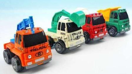 赛车总动员 挖掘机 推土机 吊车 大卡车 汽车总动员动画片中文版 大脚车越野竞速赛