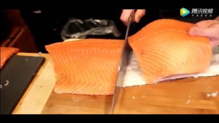 日本大厨处理顶级三文鱼, 虽然寄生虫较多, 但就看看刀工非常爽