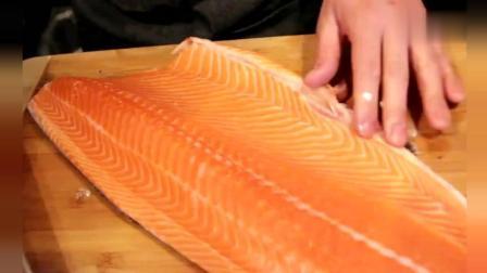 日本大厨处理一条顶级三文鱼, 刺身就是这样的