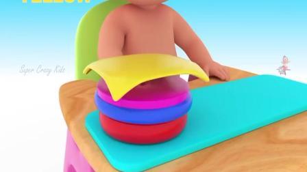 少儿动画片 少儿早教益智动漫 动物木制玩具套 3儿童教育学习颜色和动物名称