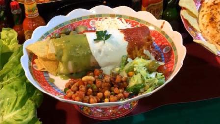 辣味烤玉米片-奶酪酱-烧烤牛肉和鸡肉-玉米面包-墨西哥辣椒-伦敦街头小吃