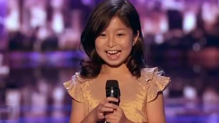 9岁香港小神童谭芷昀, 美国达人秀比赛集锦, 小姑娘唱得太棒了