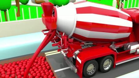 执行任务的警车道路中断被阻, 大卡车和罐车用彩色球帮忙铺路识颜色