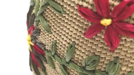 第135集 花儿朵朵绣花棉草大包编织教学(下)许红霞教编织