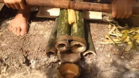 野外求生, 生存哥用原始技术榨制作原始红糖, 手艺好牛逼呀