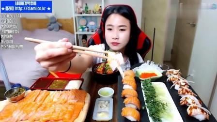韩国大胃王美女, 吃三文鱼大餐, 各种做法, 大口吃爽了