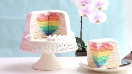 教你做惊喜彩虹心千层蛋糕, 这创意绝对满分!