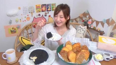 大胃王木下 奇怪的深黑色蛋糕和法国吐司面包