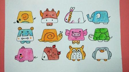 12个梯形画出可爱的动物简笔画, 特别适合小朋友, 赶紧给孩子收下