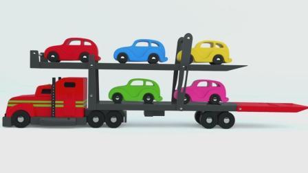 亮亮玩具汽车和挖掘机动画学习英语, 婴幼儿宝宝教育游戏视频1032