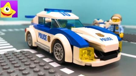 神奇乐高儿童警车积木玩具, 宝宝的早教益智玩具