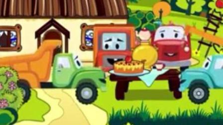 赛车总动员: 小卡车到果园摘苹果做水果蛋糕, 挖掘机吊机卡车在河边搭建房子