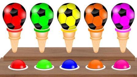 制作彩色足球型冰淇淋蛋筒学颜色
