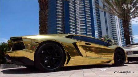 "身着炫酷""黄金甲""Lamborghini Aventador LP700-4超清实拍"