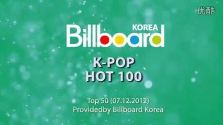 【爱逗】Billboard韩国单曲榜 Top50 (7.12.2012) 2NE1空降冠军