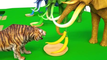 益智: 颜色启蒙, 大象准备辣椒让老虎大灰狼等动物吃彩椒变颜色