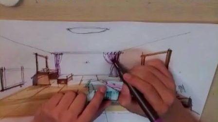 室内手绘效果图(下)(室内设计教程)室内设计教学视频 厦门室内设计培训学校视频