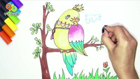 多彩鹦鹉图简笔画, 它那深邃眼神仿若实物, 一起画出来吧