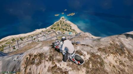 GTA5 小富骑摩托车下悬崖, 表演摩托特技