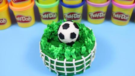 diy彩泥粘土世界杯足球蛋糕