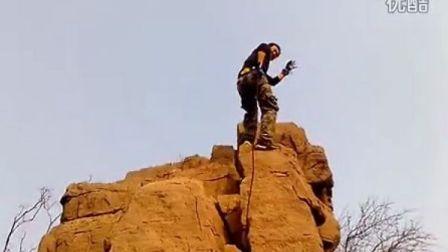 三人行大寨山穿越之攀岩速降表演