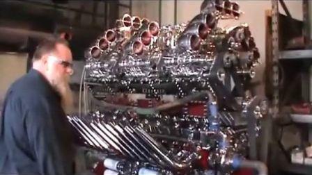 霸气外露自制24缸卡车发动机