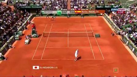 2013法国网球公开赛男子单打第三轮 纳达尔VS锦织圭
