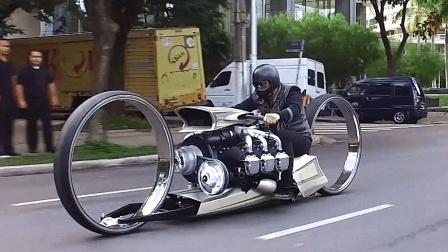 老外自制摩托车, 飞机发动机加无轮毂空心轮, 上路疯狂吸睛!