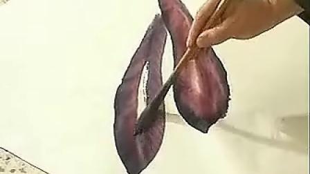 张大林花鸟画讲座国画蔬菜图茄子画法二1
