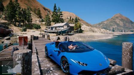 GTA5 小富把兰博基尼飙车开进海里