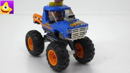 帅气美国大脚车乐高儿童积木玩具, 炫酷弹力越野车
