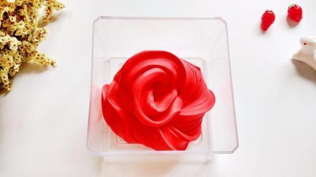 只用2种材料教你自制玫瑰史莱姆, 一点胶水都不用, 无硼砂护理液, 高颜值, 简单易学!