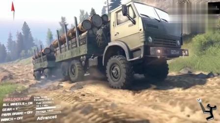 SPINTIRES: 大卡车山地运输两车厢木头, 差点没爬上大坡