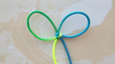 编绳之基础结: 简单的双环结的编法, 又称双耳酢浆草结!