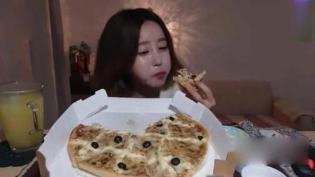 大胃王吃播, 韩国大胃王美女欧尼吃披萨, 满满的芝士!